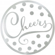 Silver Foil Hot Stamped Cheers Coasters 9cm Pack of 18