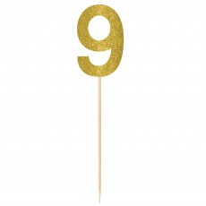 Number 9 Party Supplies - Party Picks Large Glittered Gold