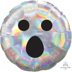 Halloween Standard Holographic Iridescent Ghost Face Foil Balloon