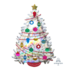 Christmas SuperShape Holographic Iridescent  Tree Shaped Balloon