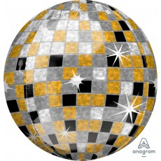 Orbz XL Gold, Silver & Black Disco & 70's Disco Ball Shaped Balloon 38cm x 40cm