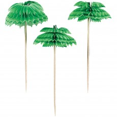 Hawaiian Luau Honeycomb Palm Tree Party Picks