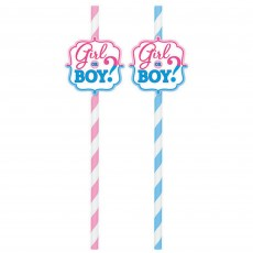 Gender Reveal Girl or Boy? Straws 22.8cm Pack of 12