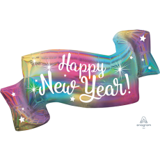 SuperShape Banner Holographic Iridescent Colourful Happy New Year! Shaped Balloon 99cm x 48cm