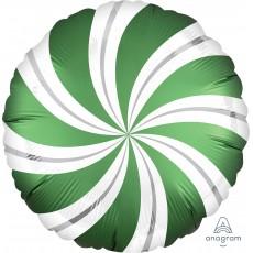 Christmas Emerald Green Standard XL Candy Cane Swirls Foil Balloon