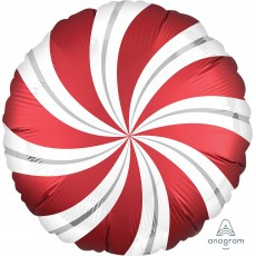 Christmas Party Decorations - Foil Balloon Candy Cane Swirls Sangria Red