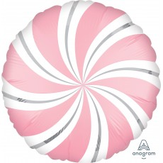 Christmas Bubble Gum Standard XL Candy Cane Swirls Foil Balloon