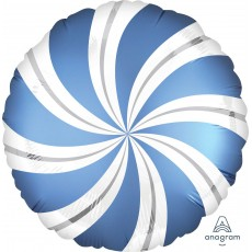 Christmas Party Decorations - Foil Balloon Candy Cane Swirls Azure Blue