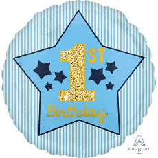 Boy's 1st Birthday Blue & Gold Standard HX Foil Balloon