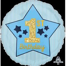 Round Blue & Gold Boy's 1st Birthday Standard HX Foil Balloon 45cm