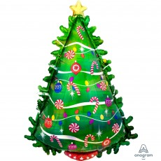 Christmas SuperShape Holographic Green  Tree Shaped Balloon