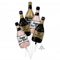 New Year Bouquet Bubbly Bottles Shaped Balloons 25cm x 66cm Pack of 5