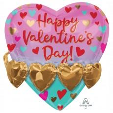 Heart SuperShape Multi-Balloon Gold Heart Garland Happy Valentine's Day Shaped Balloon 53cm