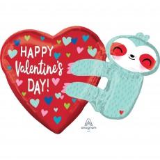 SuperShape XL Sloth & Heart Happy Valentine's Day! Shaped Balloon 76cm x 53cm