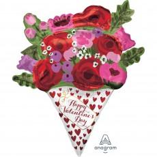 SuperShape Rose Bouquet Happy Valentine's Day Shaped Balloon 71cm x 88cm