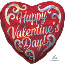 Valentine's Day Standard Holographic Shaped Balloon