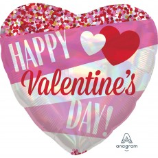 Heart Standard Holographic Iridescent Happy Valentine's Day Foil Balloon 45cm
