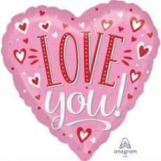 Heart Standard HX White Dots LOVE you! Shaped Balloon 45cm