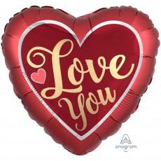 Heart Satin Sangria & Gold Standard XL Love You Shaped Balloon 45cm