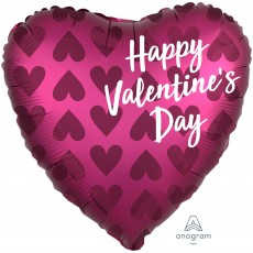 Heart Satin Infused Pomegranate Standard XL Happy Valentine's Day Shaped Balloon 45cm