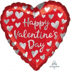 Valentine's Day Silver Hearts Shaped Balloon