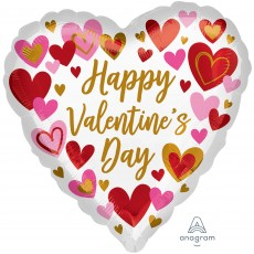 Heart Standard HX Hearts Happy Valentine's Day Shaped Balloon 45cm