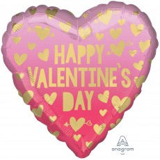 Heart Standard HX Pink Ombre Happy Valentine's Day Shaped Balloon 45cm