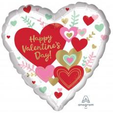 Heart Standard HX Wishes Happy Valentine's Day! Shaped Balloon 45cm