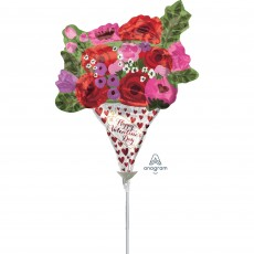 Rose Bouquet Mini Happy Valentine's Day Shaped Balloon