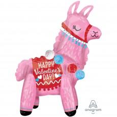 CI: Multi-Balloon Standing Llama Happy Valentine's Day Shaped Balloon 45cm x 55cm