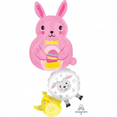 Easter SuperShape Bunny & Friends Stacker Shaped Balloon 35cm x 99cm