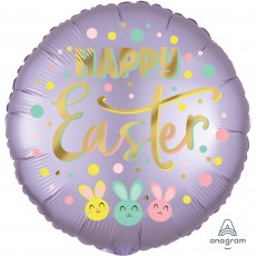 Round Standard XL Satin Infused Bunny Trio Happy Easter Foil Balloon 45cm