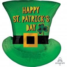 SuperShape XL Satin Top Hat Happy St Patrick's Day Shaped Balloon 53cm x 60cm