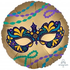 Round Mardi Gras Standard XL Night in Disguise Satin Infused Foil Balloon 45cm