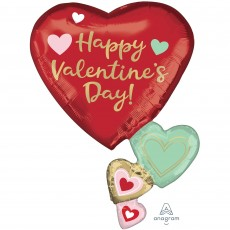 SuperShape Floating Hearts Happy Valentine's Day Shaped Balloon 58cm x 76cm