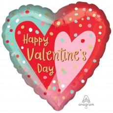 Heart Standard HX Confetti Dots Happy Valentine's Day Shaped Balloon 45cm