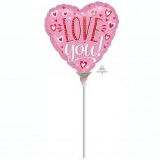 Heart White Dots Love You! Shaped Balloon 22cm