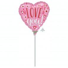 Heart White Dots Love You! Shaped Balloon 10cm