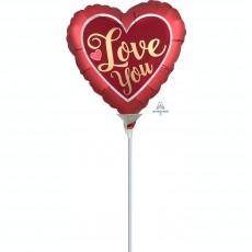 Heart Satin Sangria & Gold Love You Shaped Balloon 22cm