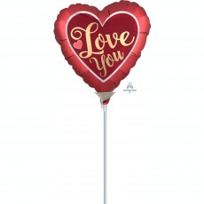 Love Satin Sangria & Gold  Shaped Balloon