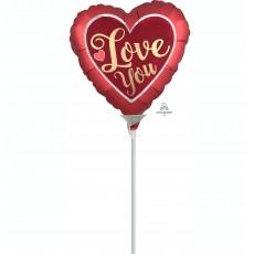 Heart Satin Sangria & Gold Love You Shaped Balloon 10cm