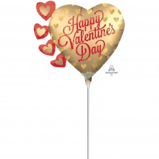Heart Mini Shape Satin Infused Pretty Gold Hearts Happy Valentine's Day Shaped Balloon