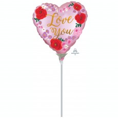 Heart Satin Painted Floral Love You Shaped Balloon 22cm