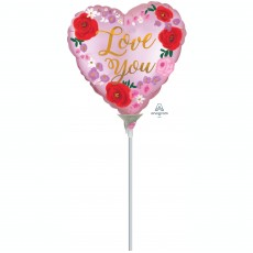 Heart Satin Painted Floral Love You Shaped Balloon 10cm