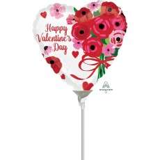Heart Lovely Roses Happy Valentine's Day Shaped Balloon 10cm