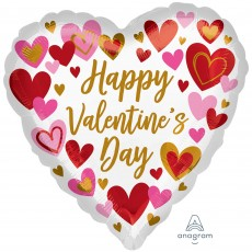 Heart Jumbo Shape HX Playful Hearts Happy Valentine's Day Shaped Balloon 71cm