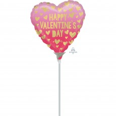 Heart Pink Ombre Happy Valentine's Day! Shaped Balloon 22cm