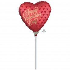 Heart Satin Infused Sangria Happy Valentine's Day Shaped Balloon 22cm