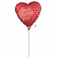 Heart Satin Infused Sangria Happy Valentine's Day Shaped Balloon 10cm