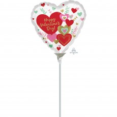Heart Wishes Happy Valentine's Day! Shaped Balloon 22cm